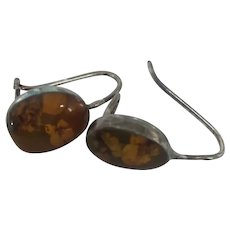 Vintage Lucite Embedded Dried Straw Flowers Sterling Silver Pierced Earrings