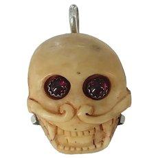 Carved Bone Memento Mori Skull Sterling Necklace Pendant