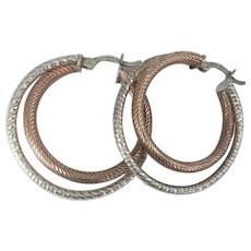 10K GF Sterling Double Hoop Pierced Earrings