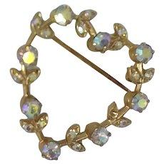 Vintage Open Heart Austrian Crystals Rhinestone Pin Brooch