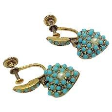 Pave Turquoise Heart Drop Dangle Earrings