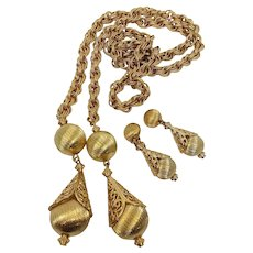 Dynamite Monet Large Gold Bolero Rope Lariat Necklace Earrings Set