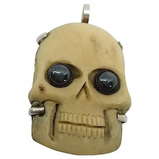 Carved Bone Memento Mori Skull Sterling Necklace Pendant