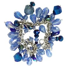 Light and Dark Blue A/B Swarovski Crystals Beads Charm Bracelet