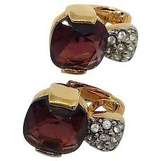 Fabulous SWAROVSKI Swan Logo Red Purple Rhinestone Clip Earrings