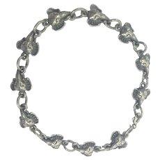 Vintage Sterling Silver Three-Dimensional Lucky Elephant Head Bracelet