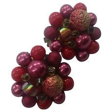 Red Sugar Beaded Crystal Button Clip Earrings
