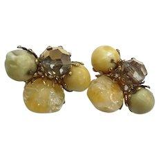 Vogue Signed Vintage Mink Crystal Lucite Crackle Glass Bead Clip Earrings
