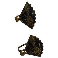 Japanese Amita Damascene Shakudo Vintage Earrings