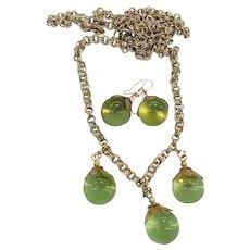 Vaseline Crystal Glass Pools of Light Drop Dangle Necklace Earrings Set