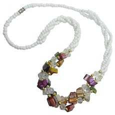 Fabulous Fun Colorful Long Glass Beads Shell Crystal Necklace