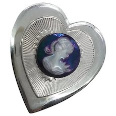Large Iridescent Cameo on Silver Tone Heart Pin Brooch