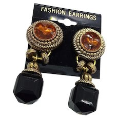 New Old Stock Fashion Large Day Night Statement Clip Dangle Earrings