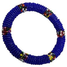 Bright Blue Seed Bead Wrapped Flexible Bangle Bracelet