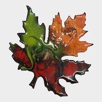 Fabulous Fall Colors Heavy Enamel Maple Leaf Pin Brooch