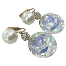 Fabulous Huge Vintage  Rhinestone Large Mirror Round Faceted Crystal Drops Pearl Clip Earrings