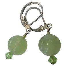 Pale Green Jadeite Jade Ball  Drop Sterling Silver Pierced Earrings