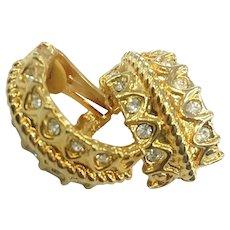 Vintage Gold Tone Rhinestone Bride Wedding Clip-On Earrings