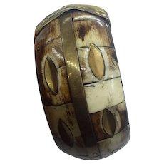 Chunky Large Brass Inlay India Vintage Tribal Bone Bangle Bracelet