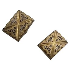 Victorian Rolled Gold  Basse Taille Tracery Enameling Unisex Cuff Links