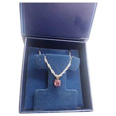 Sterling Silver New Old Stock Ruby MIB Necklace