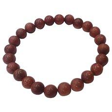 Gemstones Red Jasper Gold Stone Beads Organic Unisex Stretch Bracelet
