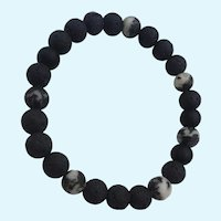 Basalt Volcanic Beads Organic Stretch NOS Unisex Bracelet