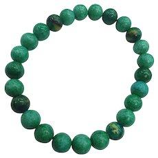 Gemstone Natural Chrysocola Beads Organic Stretch Unisex NOS Bracelet