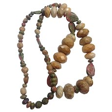 Wonderful Fossil Agate Unakite Semi- Precious Gemstones Beads Necklace