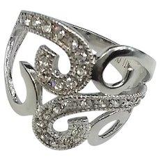 Elegant Swirls Sterling Silver Rhodium Plate Clear CZ Ring