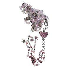 Pink Crystal Japanned Long Fringe Tassel Necklace