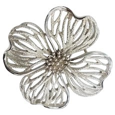 Crown Trifari Signed Silver Reticulated Dogwood Floral Design Pin Brooch