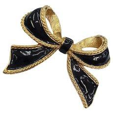 KJL for AVON Signed Black Enamel  Goldtone Bow Enhancer Pendant