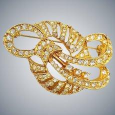 Retro Rhinestone Gold Tone Pin Brooch