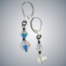 Delicate Drop  Aurora Crystals Pierced Earrings