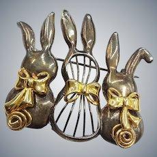 Three Rabbits Silver Gold Tone Bunnies Pin Brooch