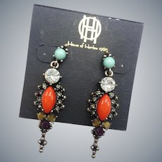 House of Harlow Rhinestones Faux Coral Turquoise Dangle Pierced Earrings
