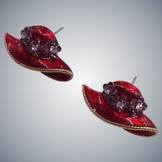 Red and Purple Rhinestones Enamel RED HAT Pierced Earrings