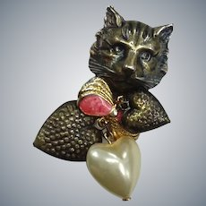 Charming Vintage Meow Kitty Cat Hanging Hearts Charms Pin Brooch