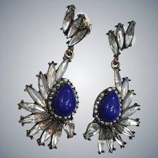 Baublebar Signed Rhinestone Angel Wing Long Dangle Pierced Earrings
