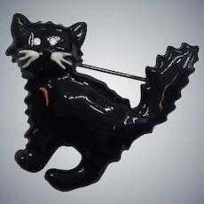 Black Heavy Enamel Scared Cat Kitty Feline Figural Pin Brooch