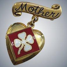 Craft Signed Mother Heart Locket Enamel Clover Pin Brooch