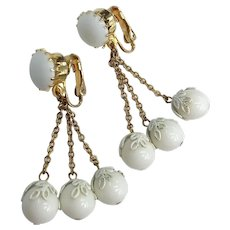 White Milk  Glass Gold Tone Dangle Clip On Earrings
