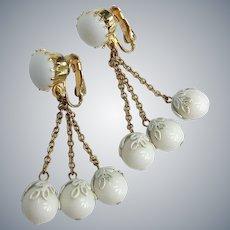 White Milk  Glass Gold Tone Dangle Clip On Earrings