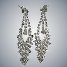 Radiant Rhinestone Spectacular Crystals Long Dangle Wedding Bridal Pierced Earrings