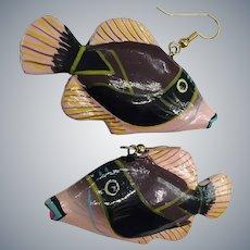 Painted Wood Tropical Dangle Pierced Retro Big Statement Fish Pierced Earrings