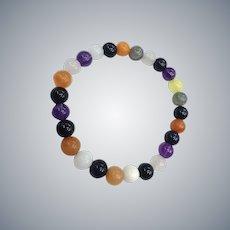 Mixed Organic Gemstones Agate Stone Icy Cold Stretch Vintage NOS Unisex Bracelet
