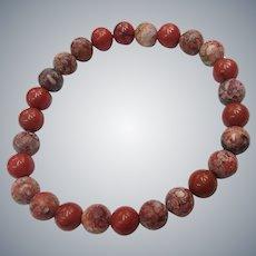 Gemstone Natural Red Poppy Jasper Beads Organic Stretch Unisex NOS Bracelet