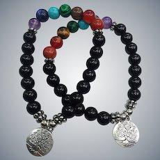 Gemstone Natural Mixed Beads Organic Stretch Unisex NOS Charm 2 Bracelets Set