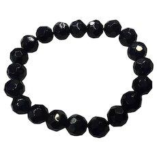 Gemstone Black Onyx Faceted Beads Organic Stretch Unisex NOS Bracelet